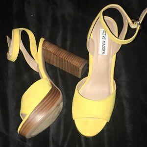 Women Yellow Steve Madden Chunky Heel